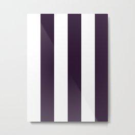 Wide Vertical Stripes - White and Dark Purple Metal Print