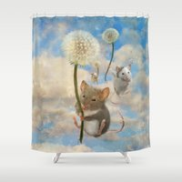 onesie Shower Curtains featuring Dandemouselings by Aimee Stewart