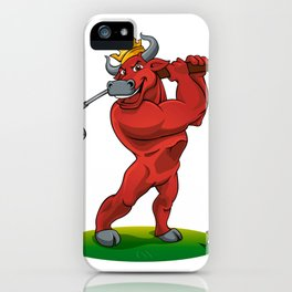 bull with a stick for a golf iPhone Case