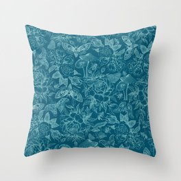 Botanical Pattern Cyan Throw Pillow