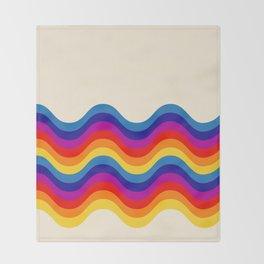 Wavy retro rainbow Throw Blanket