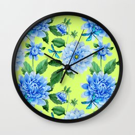 Modern blue lime punch watercolor dahlia floral pattern Wall Clock