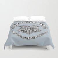 hogwarts Duvet Covers featuring Hogwarts by Cécile Pellerin