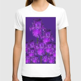 Contemporary Dark Purple Iris Garden Art T-shirt