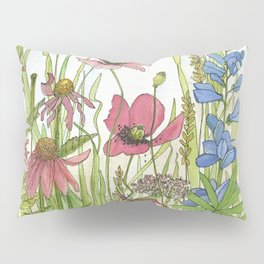 Red Poppy Wildflowers Watercolor Ink  Pillow Sham