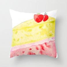 Lemon & Strawberry Cake Throw Pillow