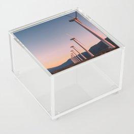 California Desert Windmills at Sunset with Mountain Vistas Acrylic Box