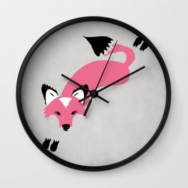 Foxier Roxy (Pink/Gray color option) Wall Clock