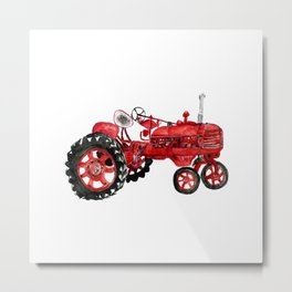 Watercolor old farming red tractor Metal Print