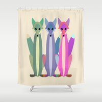 foxes Shower Curtains featuring Foxes by TypicalArtGuy