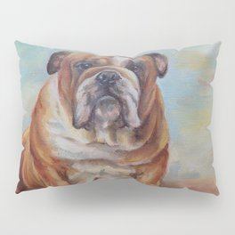 Dogmoney Funny portrait of English Bulldog with cash money Oil painting on canvas Pillow Sham