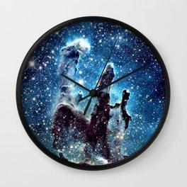 Pillars of Creation Nebula: Ocean Blue Galaxy Wall Clock