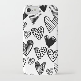 Hearts black and white hand drawn minimal love valentines day pattern gifts decor iPhone Case