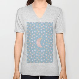 sweet pastel gold colors moon and stars bluish gray background Unisex V-Neck