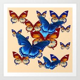 #2 MODERN ART DECORATIVE BLUE-BROWN  BUTTERFLIES Art Print