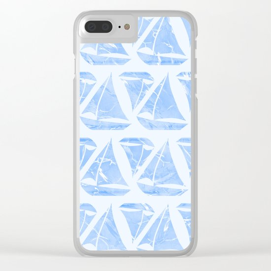 Blue Sailing Boats Water Pattern Clear iPhone Case