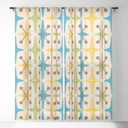 Mid Century Modern Abstract Star Pattern 441 Yellow Brown Turquoise Chartreuse Sheer Curtain