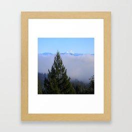 Beyond the fog is Mount Lassen.... Framed Art Print