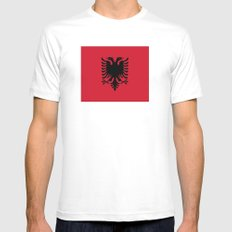 flag of Albania Mens Fitted Tee White MEDIUM