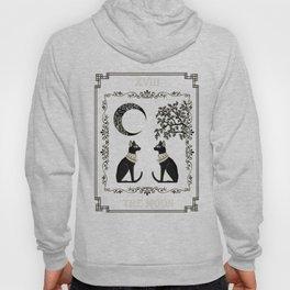 "Tarot ""The Moon"" - silver- cat version Hoody"