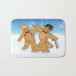 Gingerbread Family Winter Fun Bath Mat