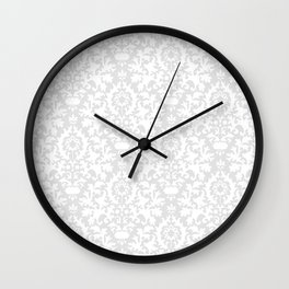 Vintage chic gray white abstract floral damask pattern Wall Clock