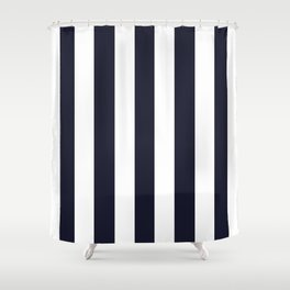 Elderberry blue - solid color - white vertical lines pattern Shower Curtain
