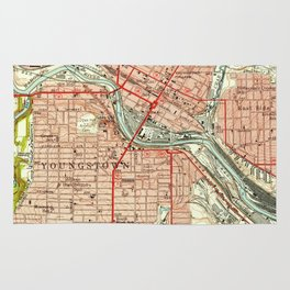 Vintage Map of Youngstown Ohio (1951) Rug