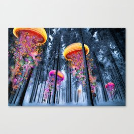 Winter Forest of Electric Jellyfish Worlds Canvas Print