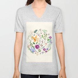 Winter Flowers Unisex V-Neck