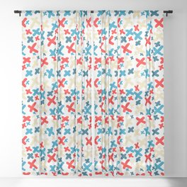Khaki and Red and Blue X Pattern Sheer Curtain
