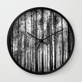 trees in forest landscape - black and white nature photography Wall Clock