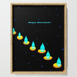 Happy Hanukkah, Chanukah, Menorah in the Dark Serving Tray