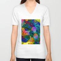 kiss V-neck T-shirts featuring Kiss by Klara Acel