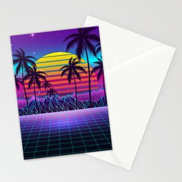 Radiant Sunset Synthwave Stationery Cards