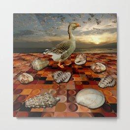 Stupid old goose disturbing seashell on dry conference Metal Print