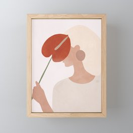 Lady with a Red Leaf Framed Mini Art Print