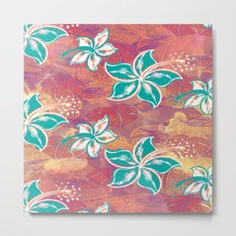 Teal Watercolor Hibiscus Jungle Print Metal Print
