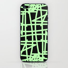 Black and neon green modern abstract pattern iPhone Skin