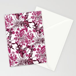 Laced crimson flowers on a white background. Stationery Cards