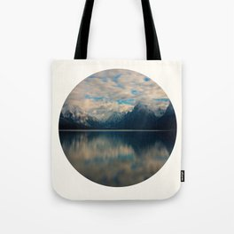 Mid Century Modern Round Circle Photo Reflective Blue Mountain Range Tote Bag