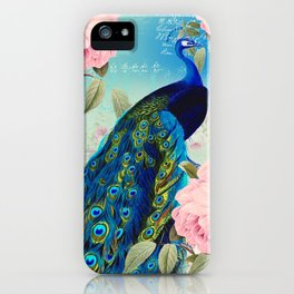 Peacock & Pink Roses  iPhone Case