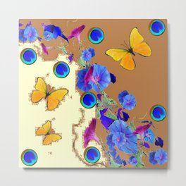 Blue Eyes Gold Butterflies Cream & Brown Color Metal Print