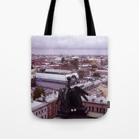 cityscape Tote Bags featuring cityscape by Gayana Manukova