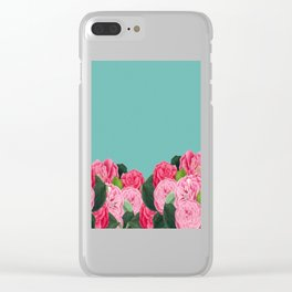 Floral & Turquoise Clear iPhone Case