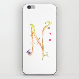 Letter N watercolor - Watercolor Monogram - Watercolor typography - Floral lettering iPhone Skin