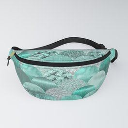 Green Turquoise Glamour Mermaid Scale Pattern Fanny Pack