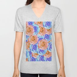 blooming rose texture pattern abstract background in red and blue Unisex V-Neck