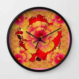 Pink-Yellow Tropical Hibiscus Flowers Asian Pattern Art Wall Clock