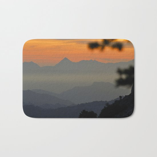 """Sunset at the mountains II"" Bath Mat"